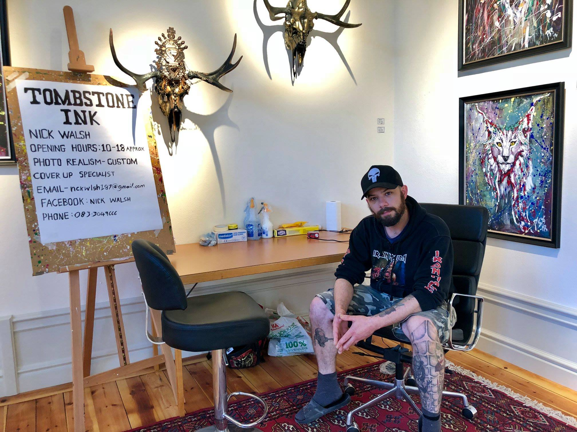 Last summer Irish Tattoo artist Nick Walsh visited Helsinglight during our FX Mask Making Workshop. Nick set up a temporary tattoo studio in Helsinglight Art Gallery during his 2 week stay.