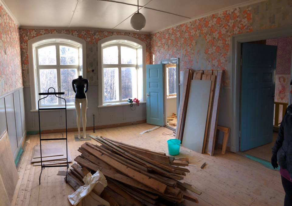 """The AAiR apartment/studio at Helsinglight undergoing renovations! This is the Art Creative Studio and the door in the corner next to the windows leads to the little """"Pod Room/Writers corner""""."""