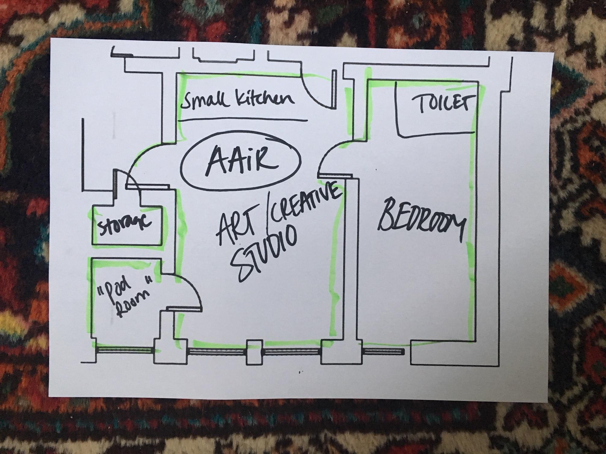 The floor plan for Artist in Residence apartment/ art studio