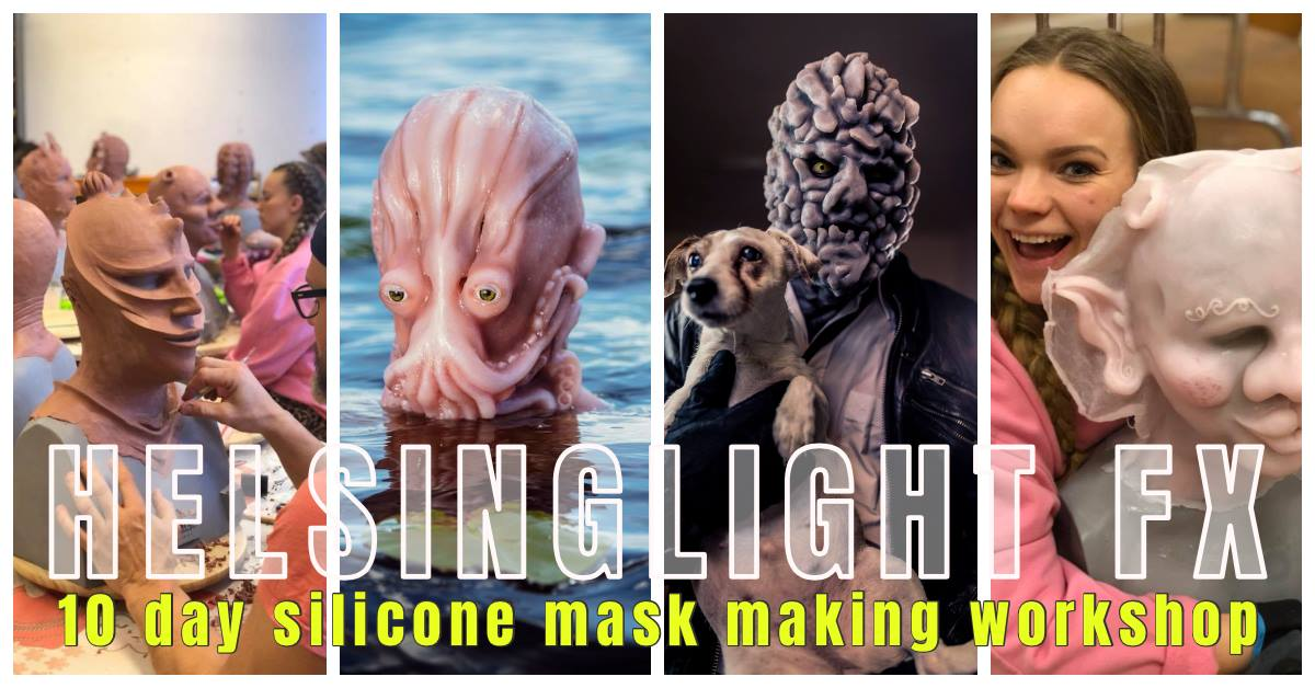 10-day Silicone Mask Making Workshop May 2-12th at Helsinglight FX.  Learn the art of creating your own full mask monster creature in silicone! During 10-days you'll learn all from design, sculpting, mold making, silicone casting, airbrushing and handpainting your monster mask!