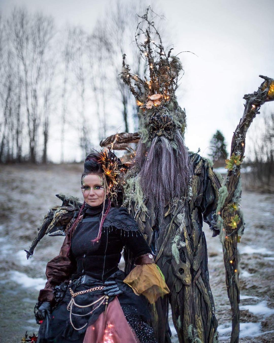 Petra Shara Stoor, owner and FX Artist/Teacher at Helsinglight FX Academy. Here with her Guardian Tree of Helsinglight on the festival  Midvinterglöd  . The Tree-Man of Helsinglight will also be joining Nordsken!