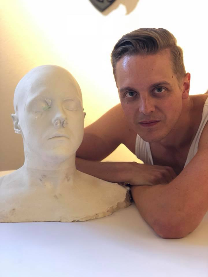 Lifecast of bust out of the mold ready to be cleaned and finished.