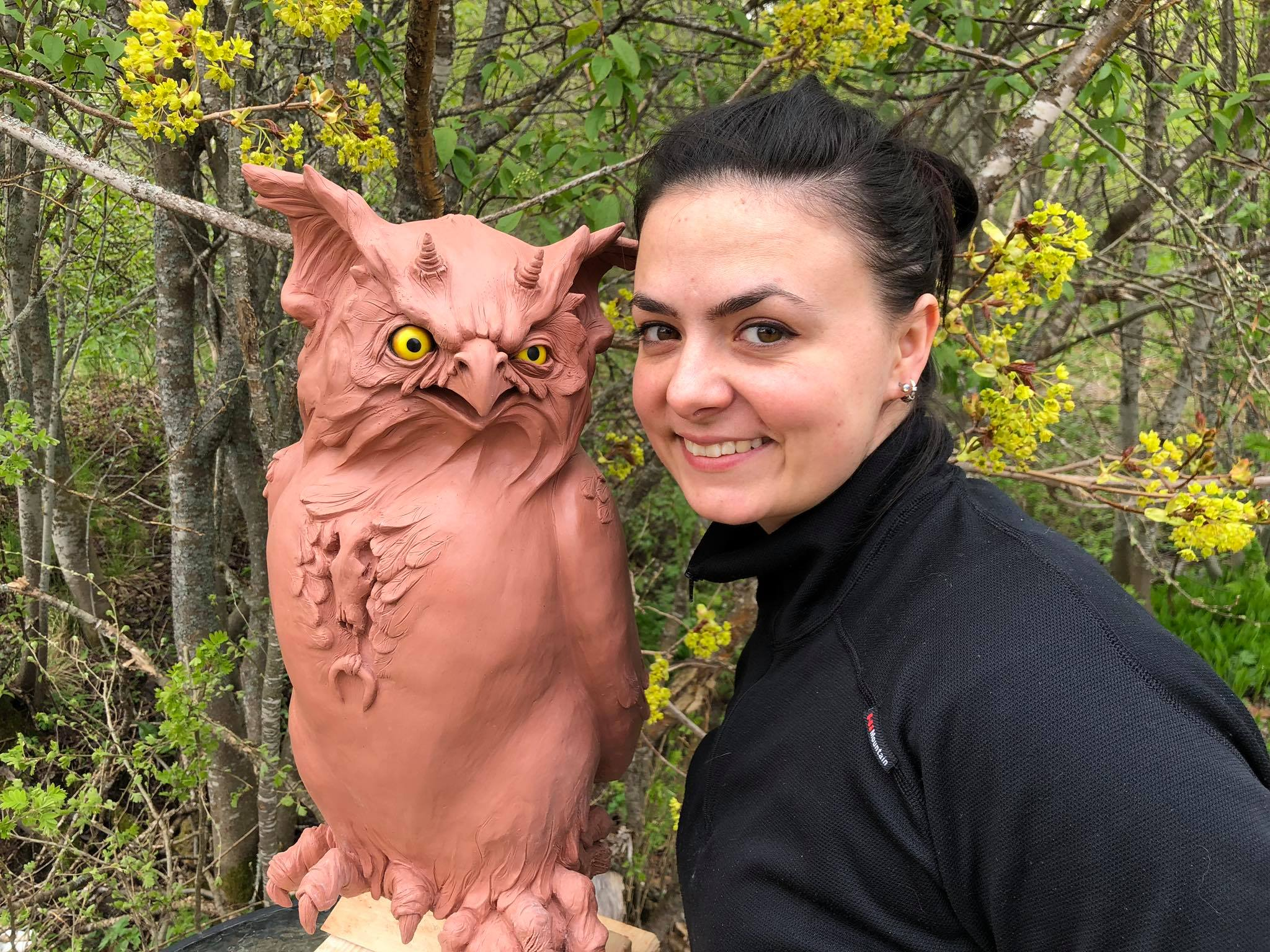 "Amfiria and her finished owl sculpture - that got the name ""Gilbert"""