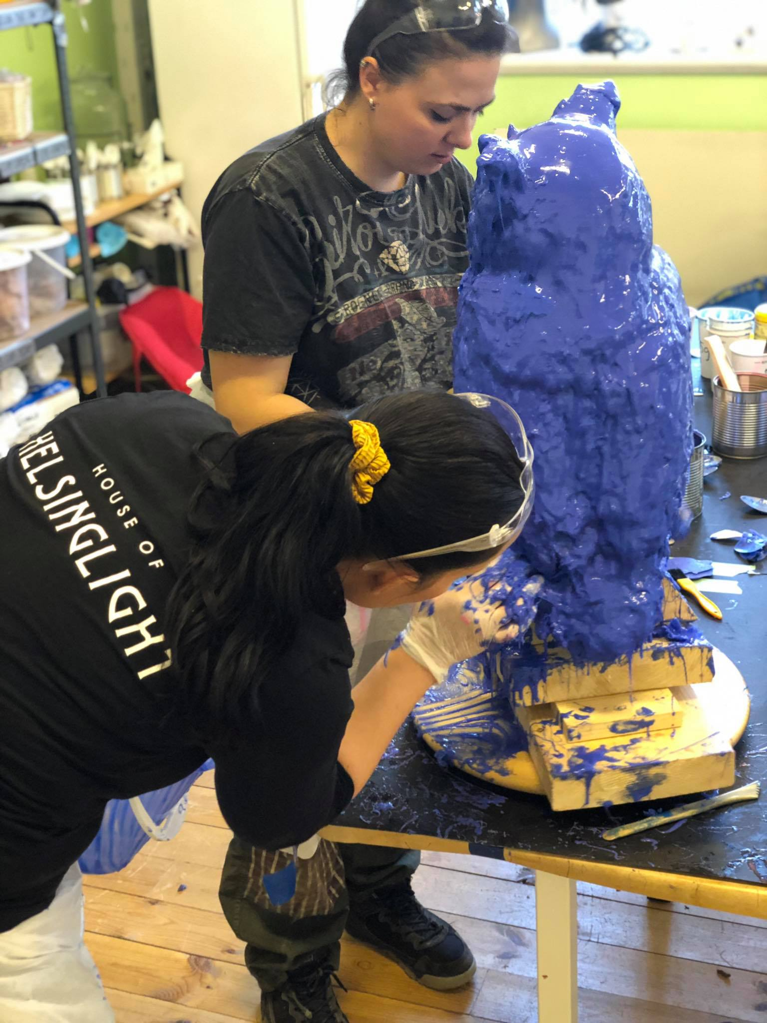Petra Shara Stoor, FX Artist and Creative Director of Helsinglight helped Amfiria out in the process of mold making and casting the owl in stone.