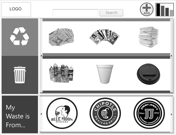Recycling Guide -  This is the home UI, which shows three different categories of information: recyclable waste items, non-recyclable waste items and restaurant profiles. In the top two vertical sections, the user can swipe through the rotating gallery of content to find out if their waste products are recyclable or not. These categories display the most commonly searched items first, which reduces effort for the user. In the bottom section, the user can also choose to search for their waste product by selecting the restaurant it comes from. The search bar at the top of the interface enables the user to search the entire gallery of content.
