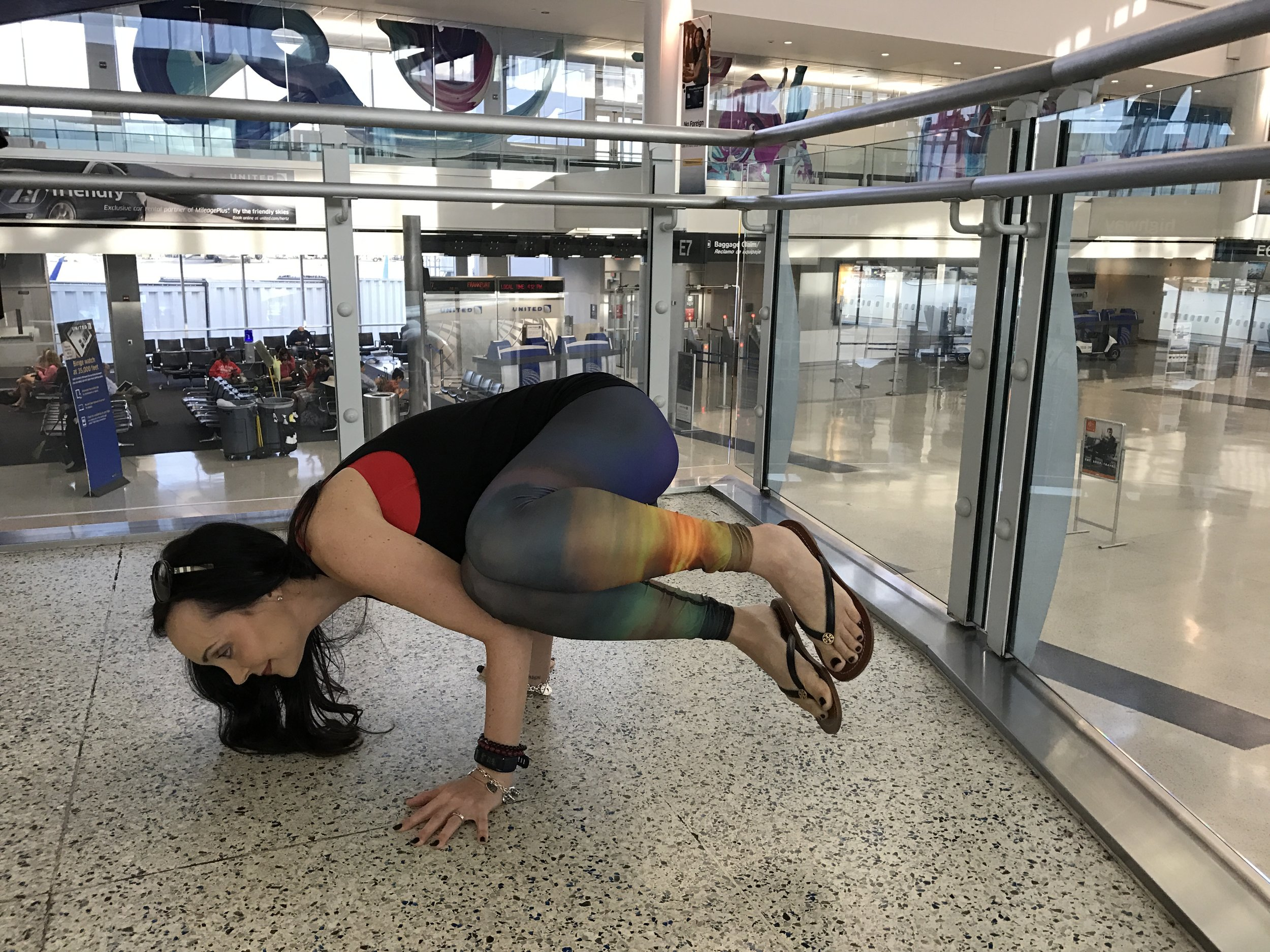 I didn't get a photo doing yoga in Nashville but I did in the Houston airport...Playing all day, everyday.