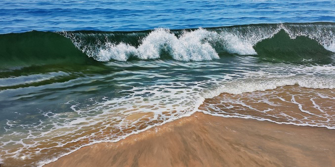 Breaking into Shallow Surf, 36x70