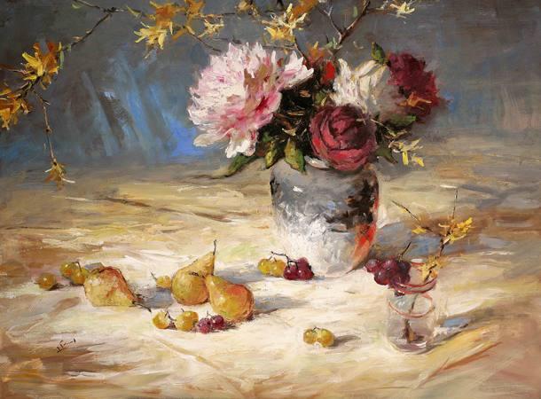 Flowers Pears Cherries, 30x40