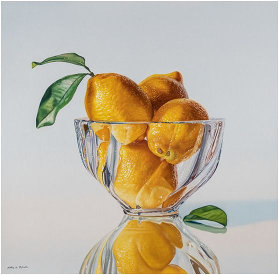 Lemons in Crystal Bowl, 20x20