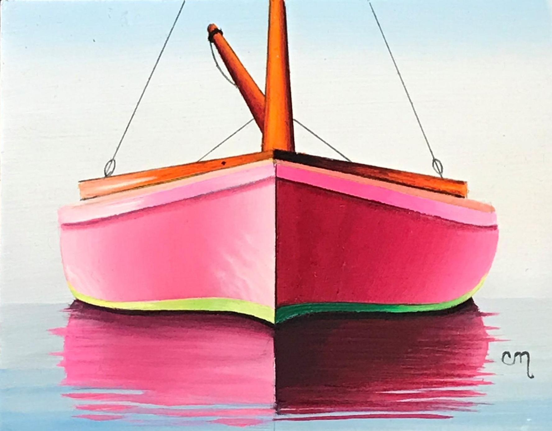 Pink Catboat, 4x5