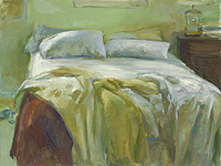Unmade Bed with Brown Blanket, 30x40