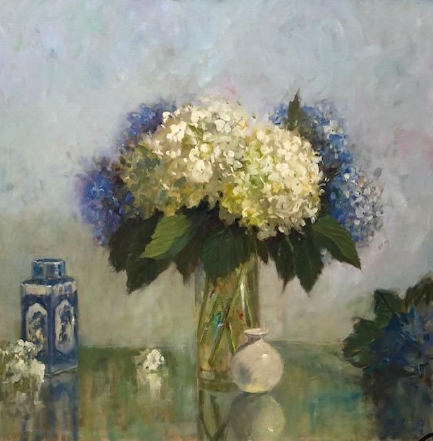 Blue and White with Oriental Jar, 30x30