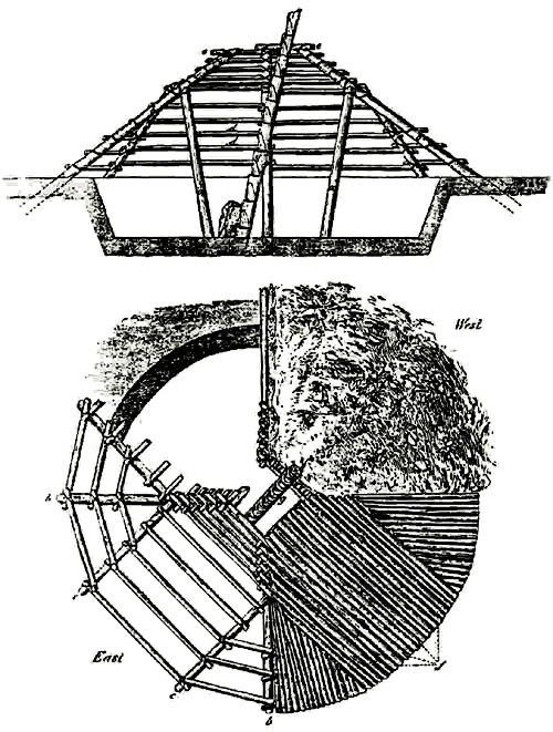Drawing of a kiguli pithouse dwelling based on the anthropologist James Teit who lived with families in 1900 near Kamloops who still lived in these types of homes.