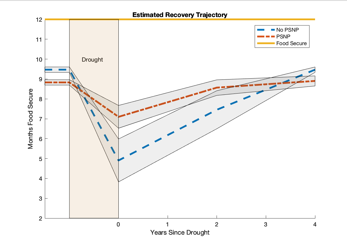Estimated effect of the Productive Safety Net Program (PSNP), a social safety net, on household's post-shock recovery trajectory