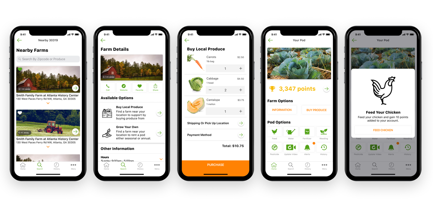By focusing on visual elements from the branding that I created we were able to make the app feel more real. We used fake data and farm pictures from unsplash.