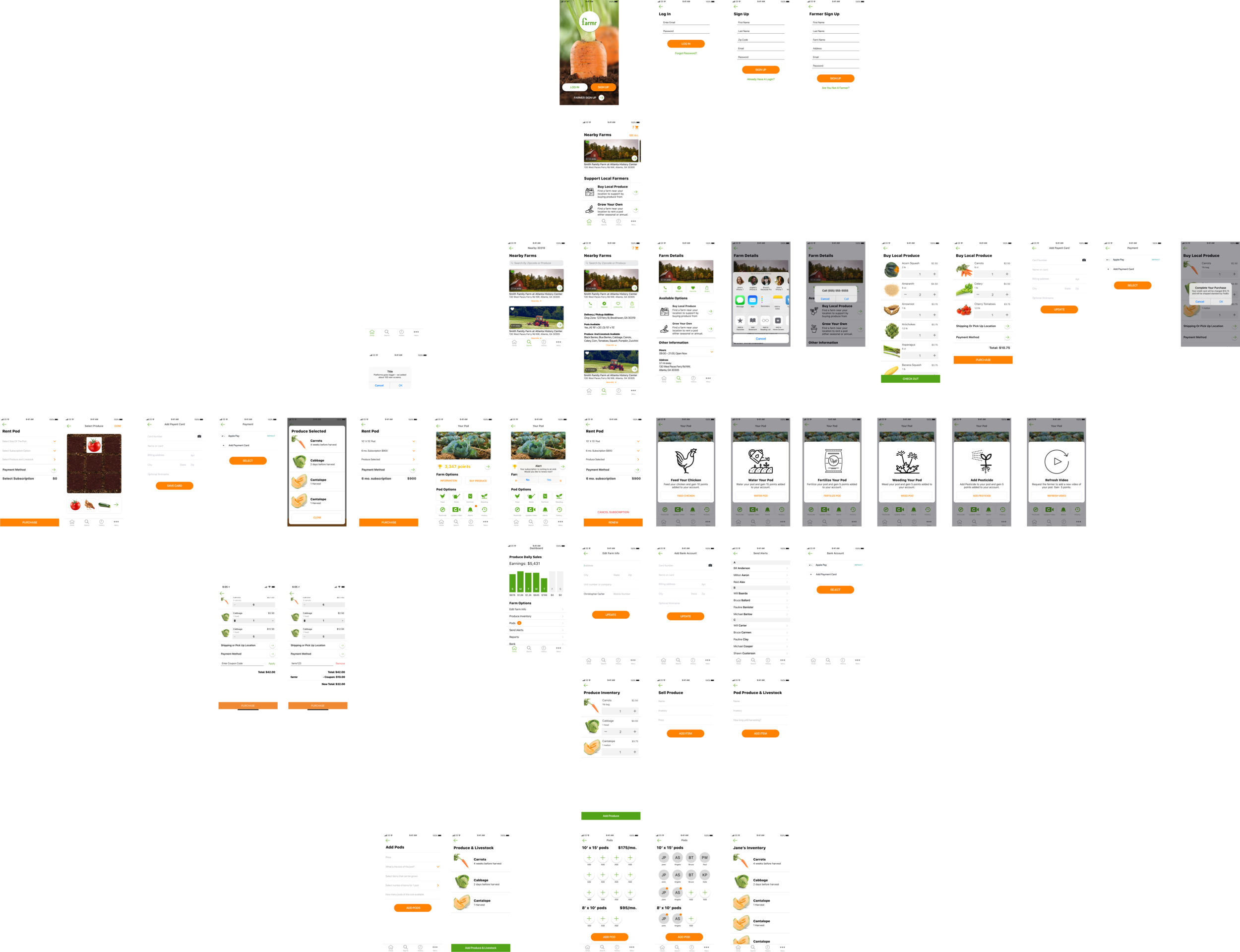 All of the screens we needed for the prototype to gather user feedback.