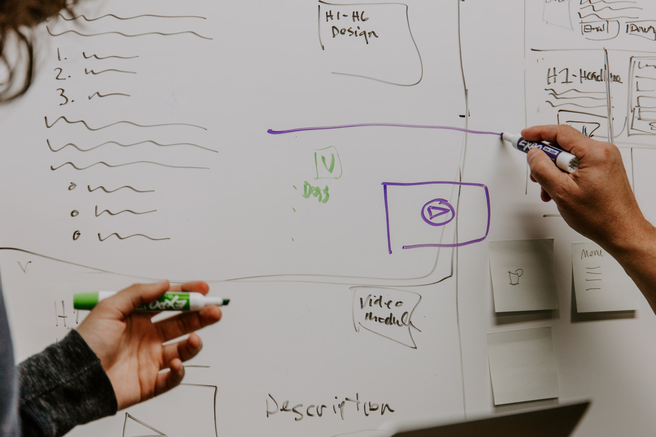 Ideation on Whiteboards - Ideation on whiteboards allows the team to go to the board and start sketching out ideas of modules we thought made up a webpage for marketers. We ended up calling these items.