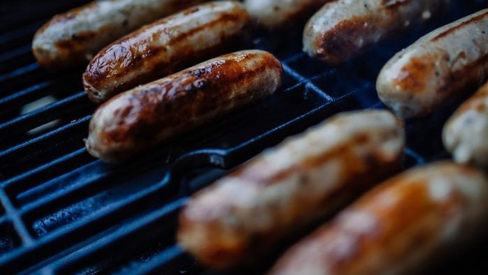 Grilled Boudin - Cajun spiced pork & rice sausages served with creole mustard & pickle70,- kr