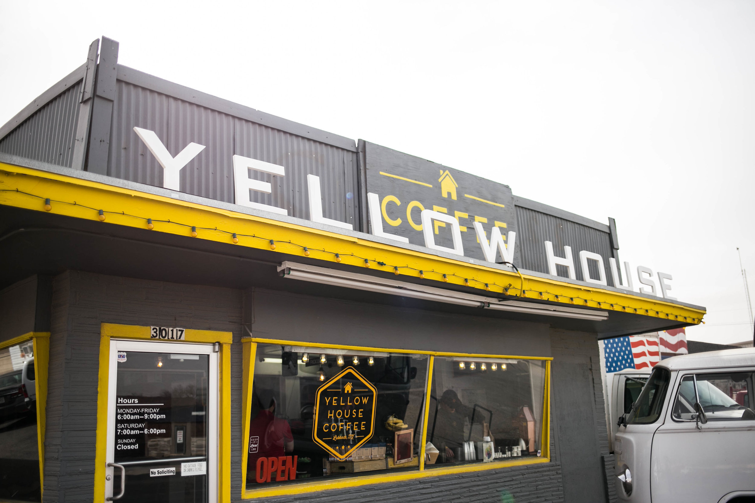 Store info - Phone Number - 806-790-54622Email Address- yellowhousecoffeellc@gmail.comLocation - 3017 34th StreetSocial Media Links -FacebookInstagramTwitterWebsite -http://yellowhousecoffee.com/Store Hours -Monday - Friday 6AM–9PMSaturday 7am-6pmSunday Closed