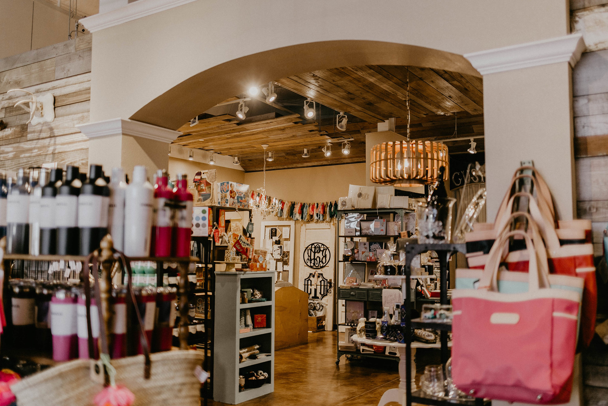 Our reccomendation - The product mix changes on a regular basis, so anytime you are shopping for a gift or a special occasion make sure you check out all of the creative invitations, dog treats, candles, and Jon Hart bags that can be hot stamped in store.