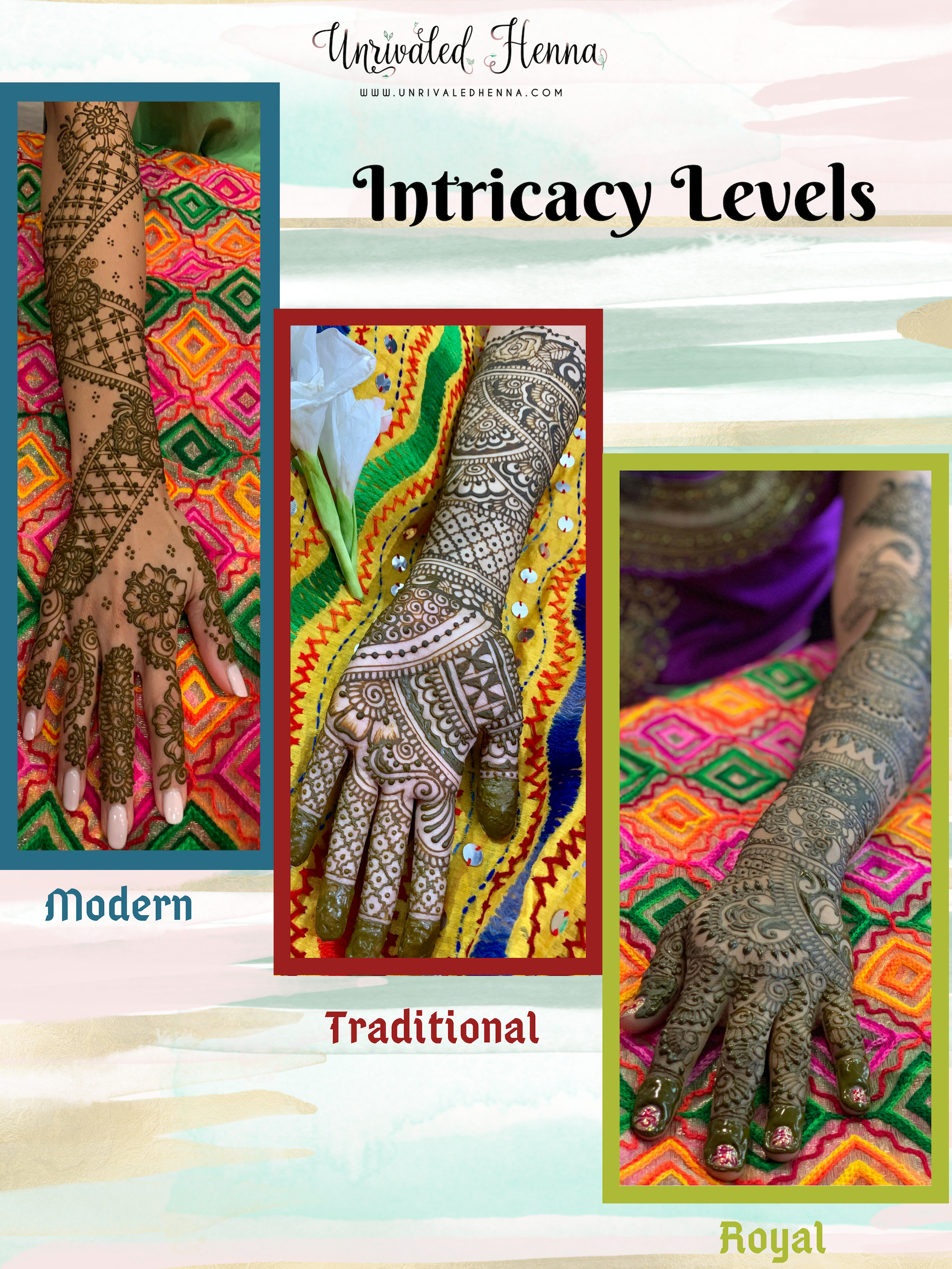 BRIDAL HENNA - Modern Henna Coverage: $150 - $250+Traditional Henna Coverage: $200 - $350+Royal Henna Coverage: $250 - $450+Displayed Bridal pricing indicates both hands/arms (all four sides) and both feet/legs.A customized design can be created for you to fit your style, budget and preference :)