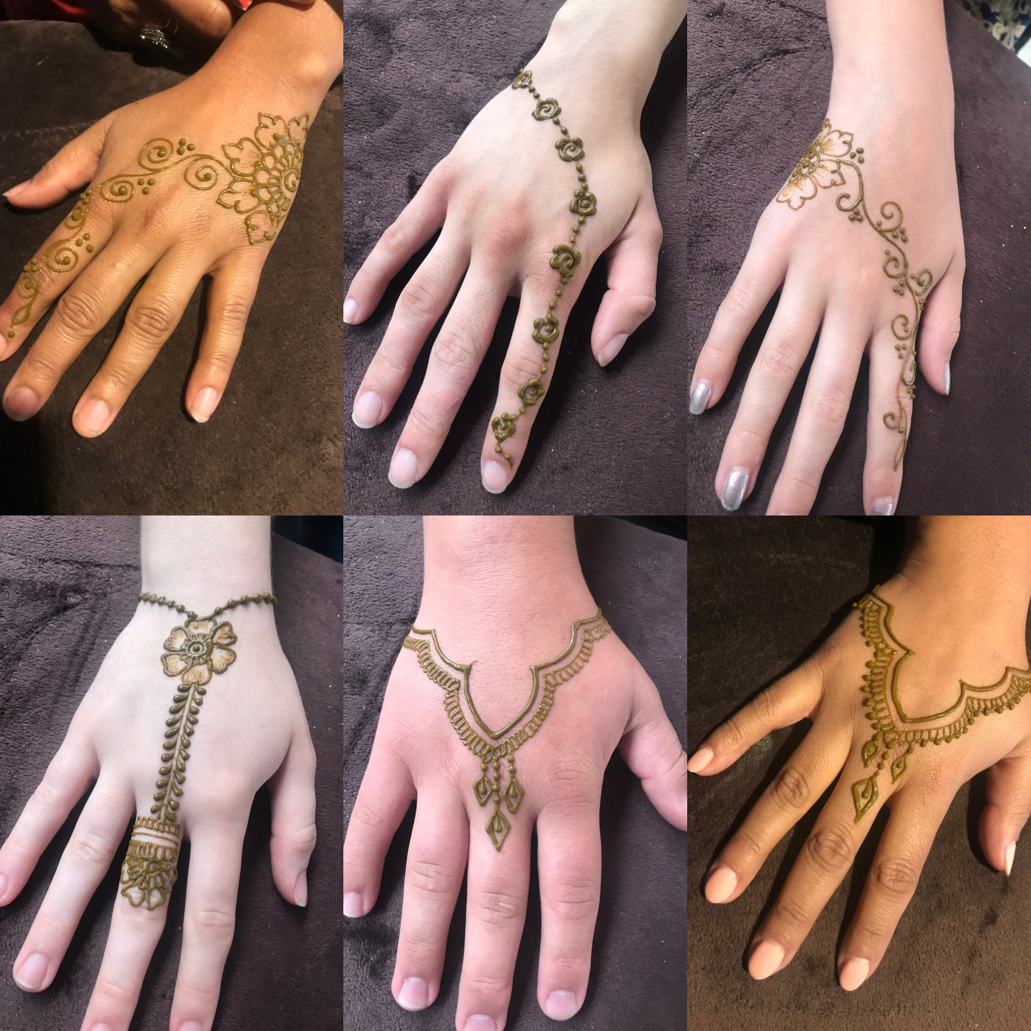 - Madiha brought custom designs specific to the needs of the party. At our Sweet 16 party, we had a lot of teenagers and I had asked her to put together some small but pretty designs to accomodate a large number of people. One interesting thing that happened was that one of the guests accidentally smeared her henna about 20 minutes after application. She thought it was ruined and didn't have a chance to get a new application from Madiha. I saw her the next day and the design was intact! The quality of henna that Madiha used was great. There was no pungent smell, the color took and was a nice reddish brown the following day and as I mentioned even with the occasional smear, the original design had taken hold on the skin soon after application. I would highly recommend Madiha and now I hope to have her at my events, at my home and just any time that my daughters and I feel like getting some nice henna done, we'll be reaching out to Unrivaled Henna! - Rani (5/11/18)