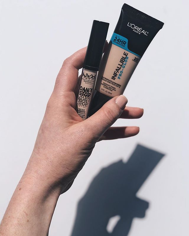 One of the top requests I get is to share more affordable products on my page, so here are a couple of ~drugstore~ purchases I've been loving lately 👇🏻 - • @lorealmakeup Infallible Pro-Glow Foundation I was introduced to this through @emilyrae_mua and I really love it! It's a medium coverage liquid formula and a little goes a LONG way. I do find this works better with a primer or setting powder if your skin is a bit on the dry side because otherwise it can get a little patchy, but definitely not enough to complain. - @nyxcosmetics Can't Stop Won't Stop Concealer 🛑 I saw this in @ultabeauty and grabbed it because of the packaging and shade honestly. They had enough shades for my pale a$$ to possibly contour which was cool, and I'm no expert but I think the shade range is decent! And damnit it turns out I really like this concealer! It's more creamy and blends nicely. It's full coverage for all those goodies you'd prefer to keep secret, and (contrary to prior statements) I don't think it needs to be set. - Shoutout some products in the comments under $40 that you want me to try 👇🏻🙌🏻 - - #drugstoremakeup #lorealmakeup #nyxcosmetics #cantstopwontstopfoundation #drugstorebrand #affordablemakeup #beautycommunity #skincarecommunity #discoverunder10k #productphotography #productshot #photography #bblogger #drugstorefind