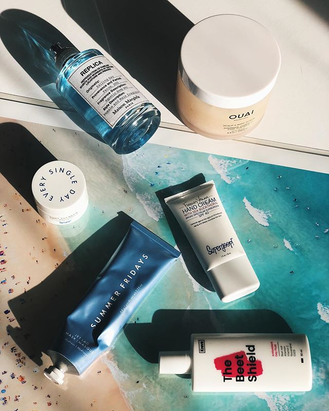 Summer? Is that you? Here are some of my can't-live-without products for summer 🌞  @supergoop Daily Moisturizer & Hand Cream, both SPF 40 @theouai Scalp & Body Scrub for soft leggies @maisonmargielafragrances Sailing Day for a cool, fresh summer scent @summerfridays Jet Lag Mask to ensure my skin is always as hydrated as possible @kravebeauty The Beet Shield to alternate with my #Supergoop Daily Moisturizer. Always protect your investment 💫  What's one of your go-to summer must-haves?  #kravebeauty #theouai #scalpandbodyscrub #beetshield #summerfridays #jetlagmask #maisonmargiela #supergoopsunscreen