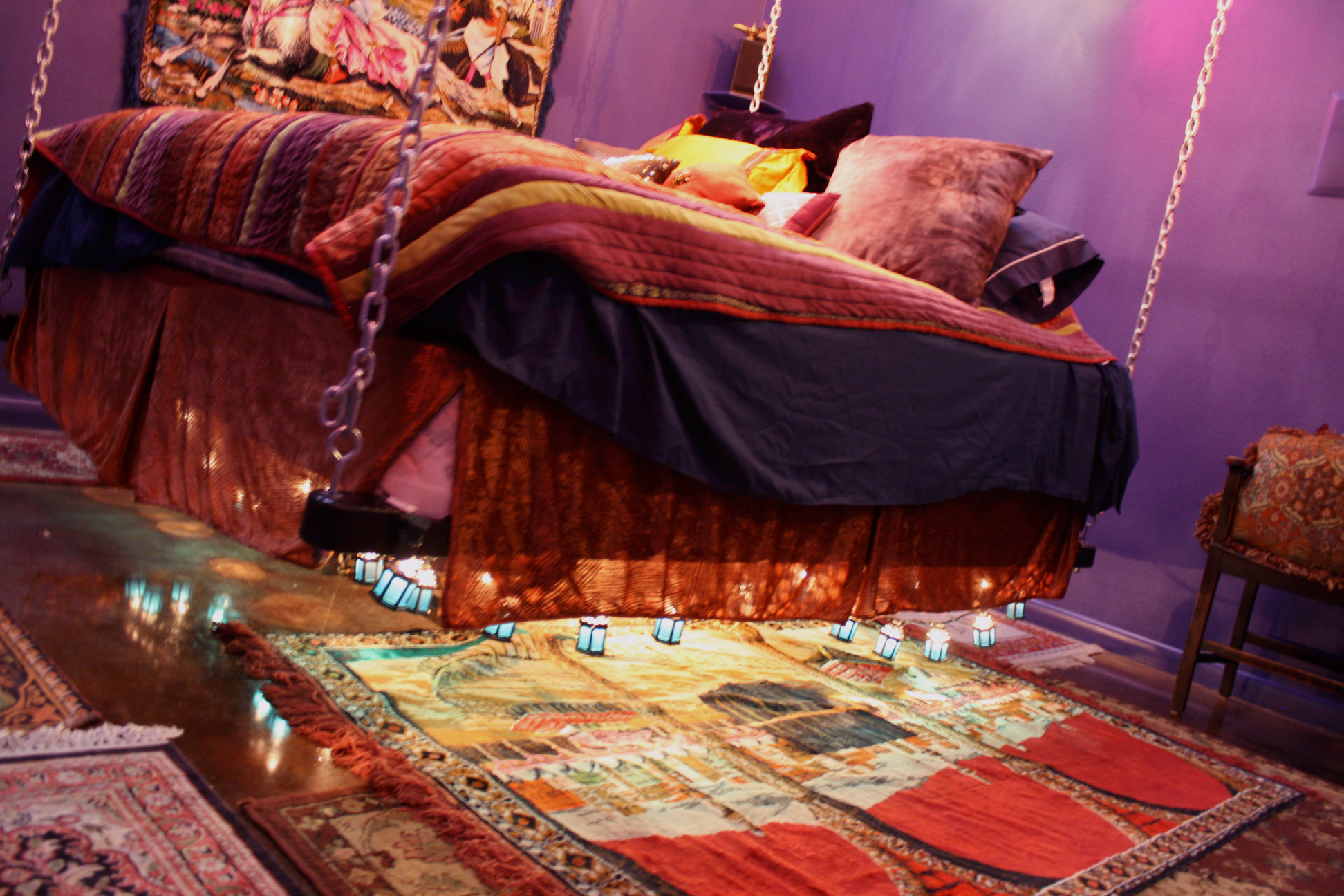The swinging bed feels like a flying carpet.
