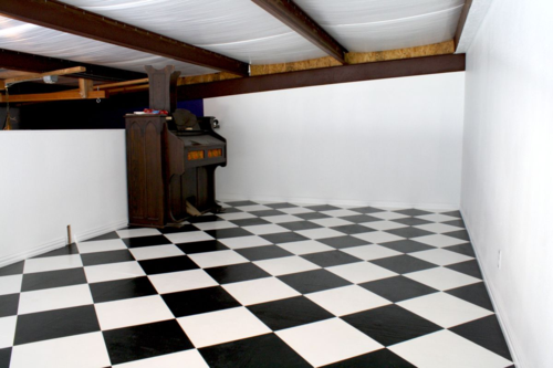 Gallery loft with hand-painted floors