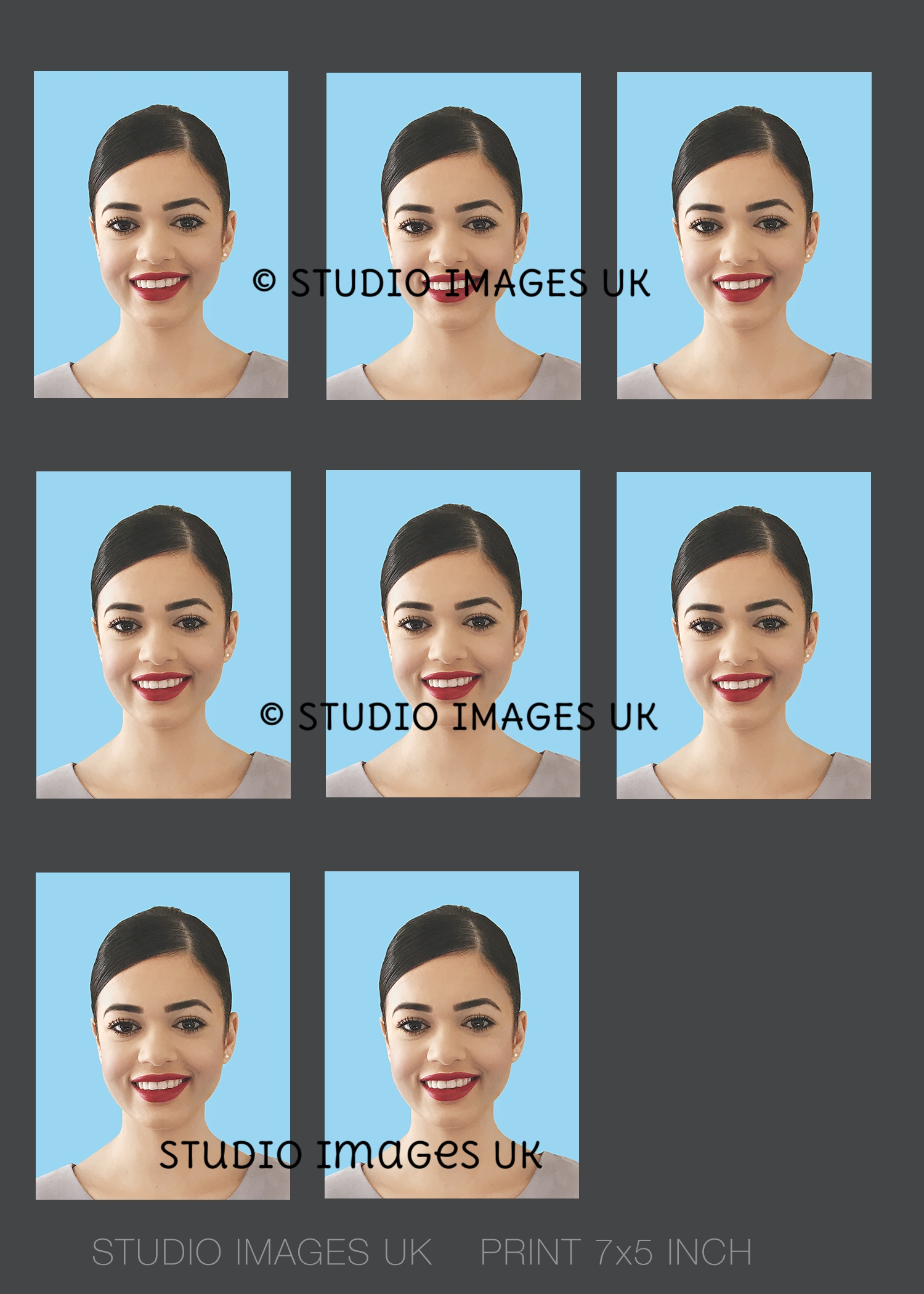 Send us a half length image taken on a light wall and we will add the light blue background and resize to passport dimensions for you.