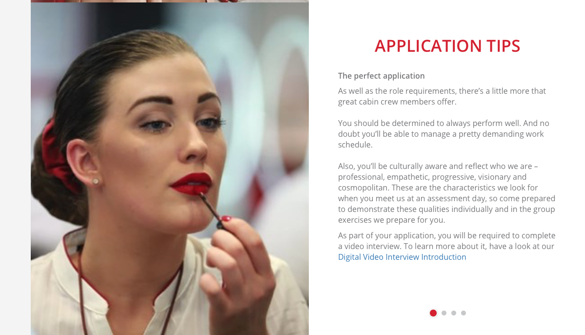 This is a screen grab from the Emirates Group Careers cabin crew page on 1st April 2018