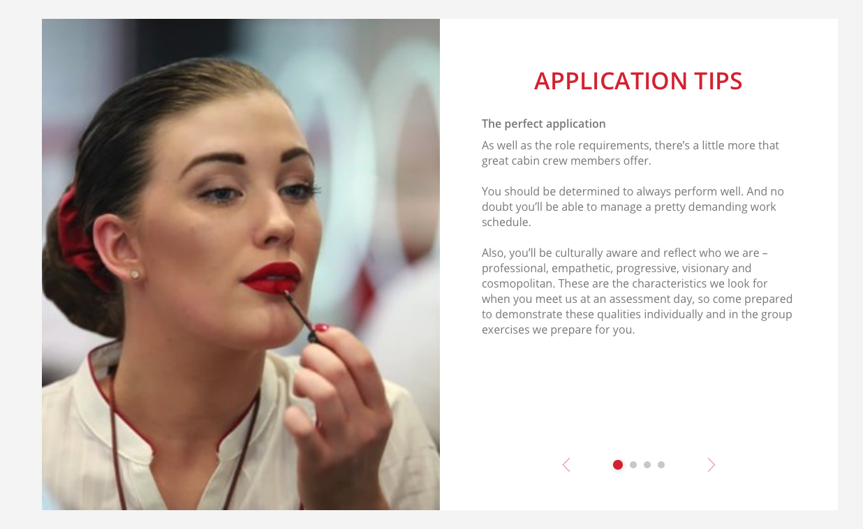 This is a screen grab from the Emirates Group Careers cabin crew page on 2nd April 2018. The 4th paragraph has mysteriously disappeared!