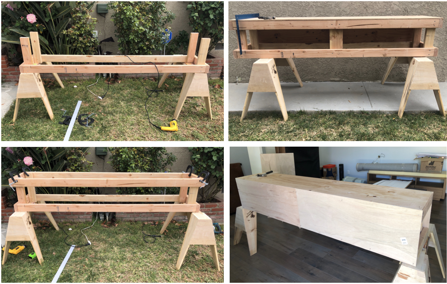 Basic bench construction using 2x4s, plywood and piano hinges for the storage.