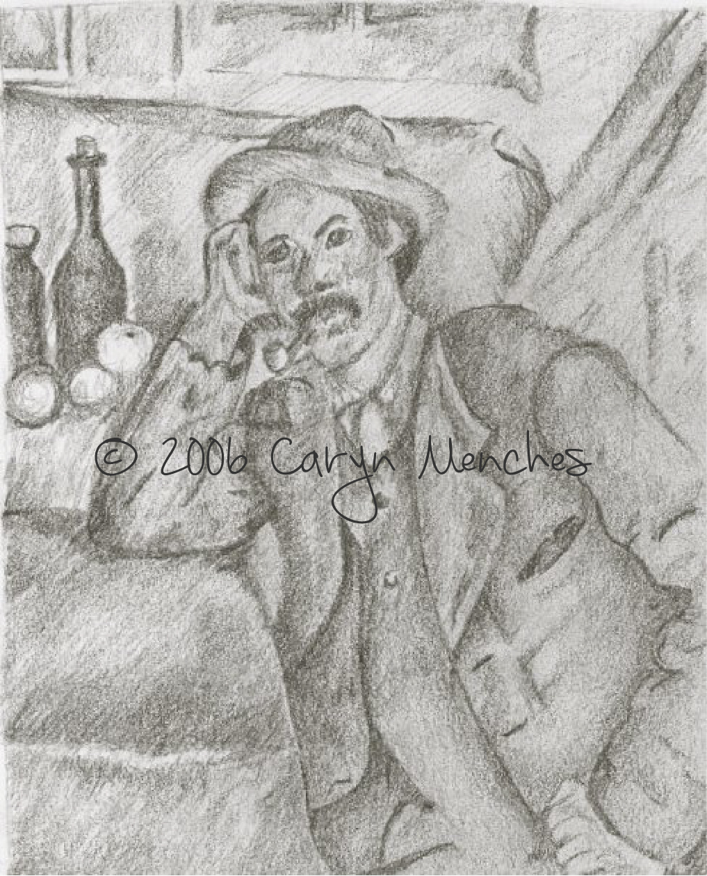 My take on drawing from the masters: The Smoker by Paul Cezanne. Pencil on Paper - Caryn Menches. © 2006 Caryn Menches.