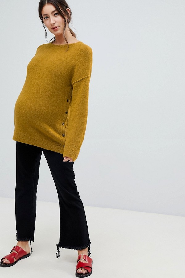 Best-New-ASOS-Maternity-Arrivals-Mustard-Yellow-Side-Button-Sweater-Cropped-Raw-Hem-Black-Jeans-Le-Bump-Baby-Blog.jpg
