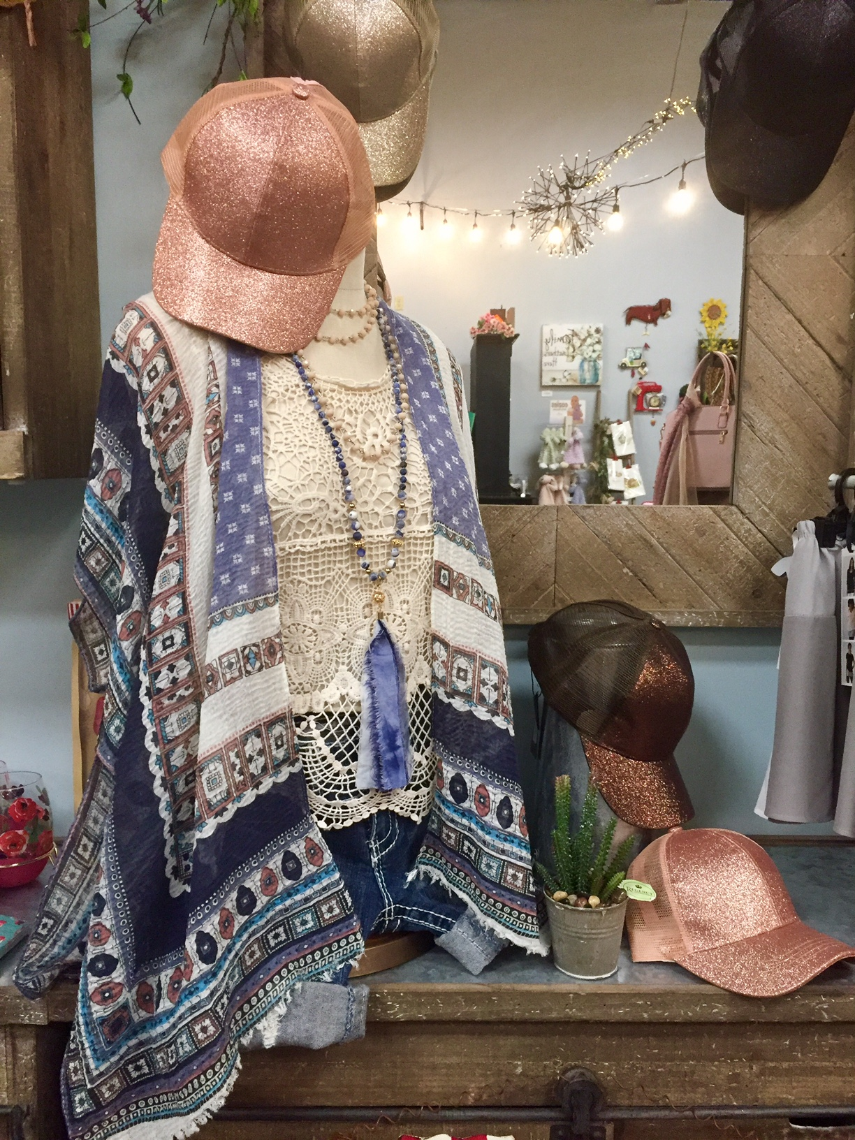 Kimonos, hats, bags, jewelry and more
