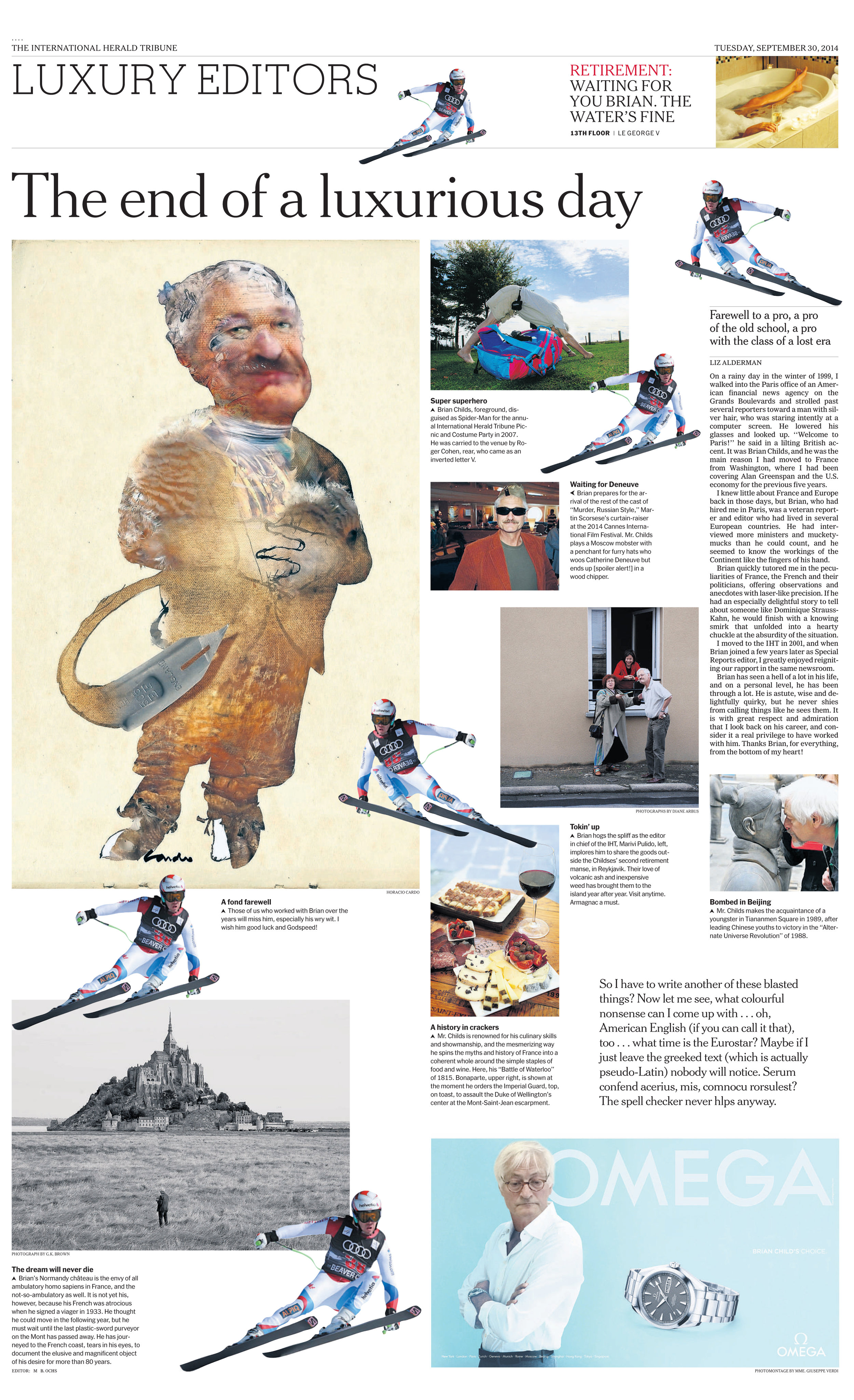 Jovial and tender page of internal circulation realized on the occasion of the retirement of the chief editor Brian Childs, for which the staff asked me to illustrate it with his caricature.