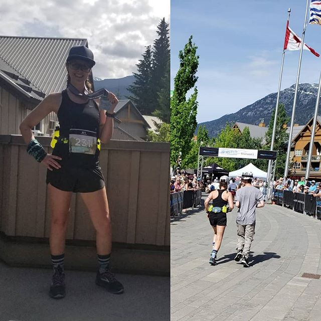 Stoked on another great race! 🏃♀️ .  @whistlerhalf sure was a challenge - as someone used to road running with the occasional trail, I knew this one would be different. My overall goal for this race was to just #runhappy and cross the finish line - although it was tough, I accomplished both 😄 . The day before the race I was so fortunate to run with Ultra Runner of the Year, @robkrar, and picked up some great tips. I readjusted my goal time to sub 2:30 and managed to come in at 2:24.38 😃 . It was a beautiful course - huge thanks to the organizers and volunteers and shout out to Mother Nature 🌍🌎🌏 . This race was also extra special as it was the first time I've had my family with me. My son even ran me in to the finish line 😍. (Then somebody started cutting onions 😄) . I feel so blessed to be able to do this, and I'm already asking when's the next one? 😃