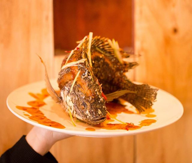 Coming up next out of our kitchen is a Whole Fish with Sam Rod Sauce!  Grab one of these for dinner tonight for only $13.90!! 😮😮😍😍