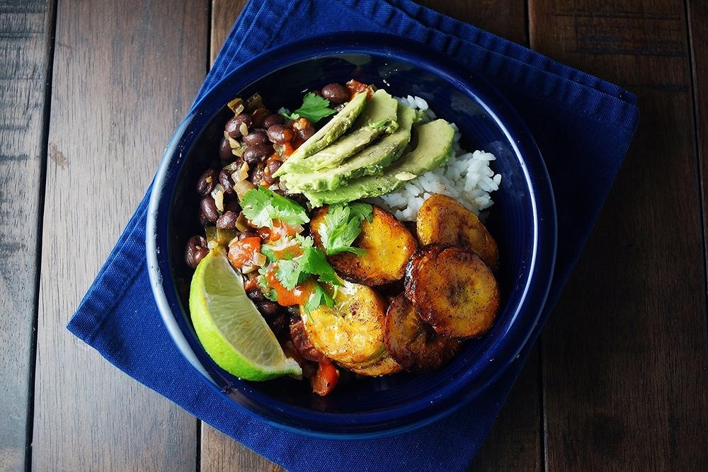 Beans, Rice and Platano Frito -