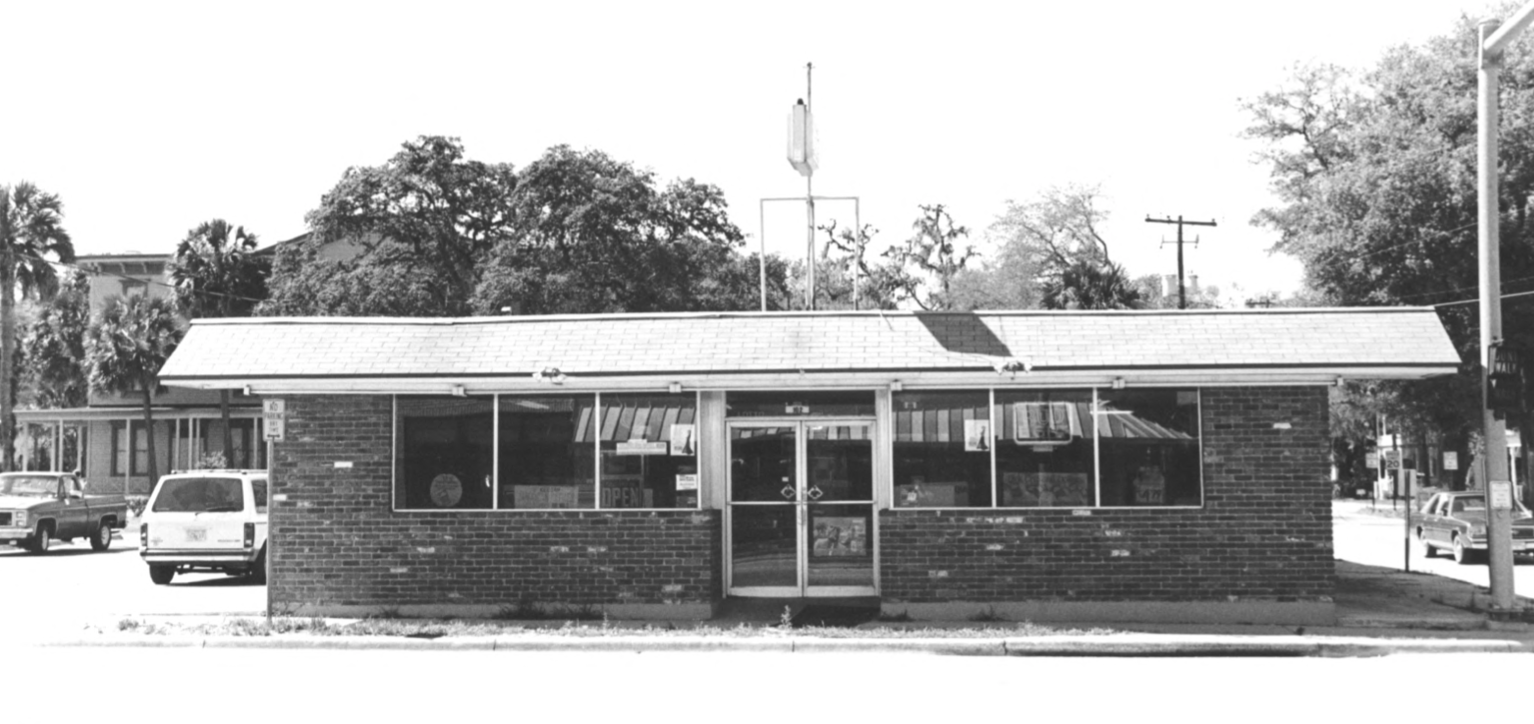 This building (built in 1950) was Dixie Food Mart. It sat in front of the Longwood Inn from the early 1960s through 2002, partially blocking its view from 427. It was torn down when 427 was expanded. Seen here in 1990 historic district filing papers.