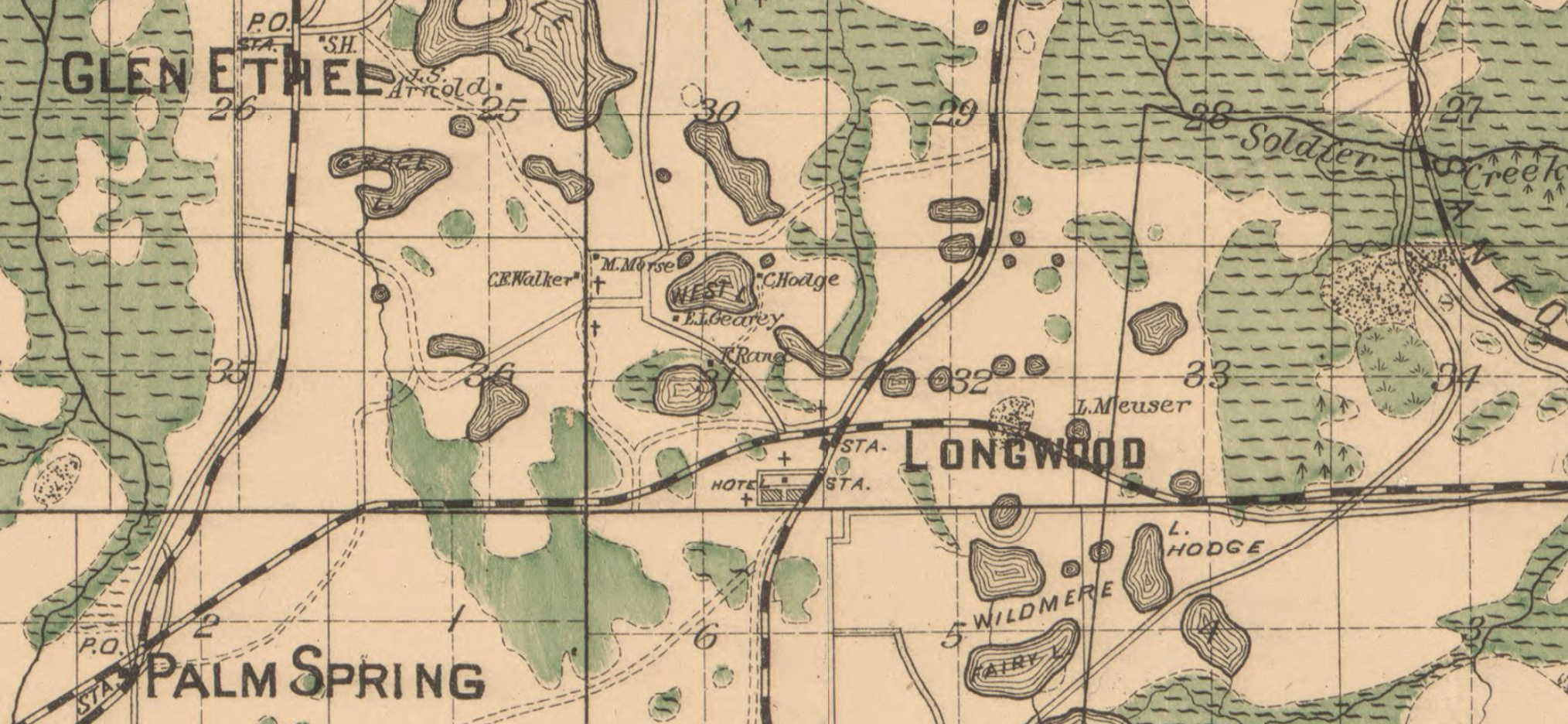 1890 map showing Longwood area. You can see two churches denoted in West Longwood, along what is generally now the path of Rangeline Road.