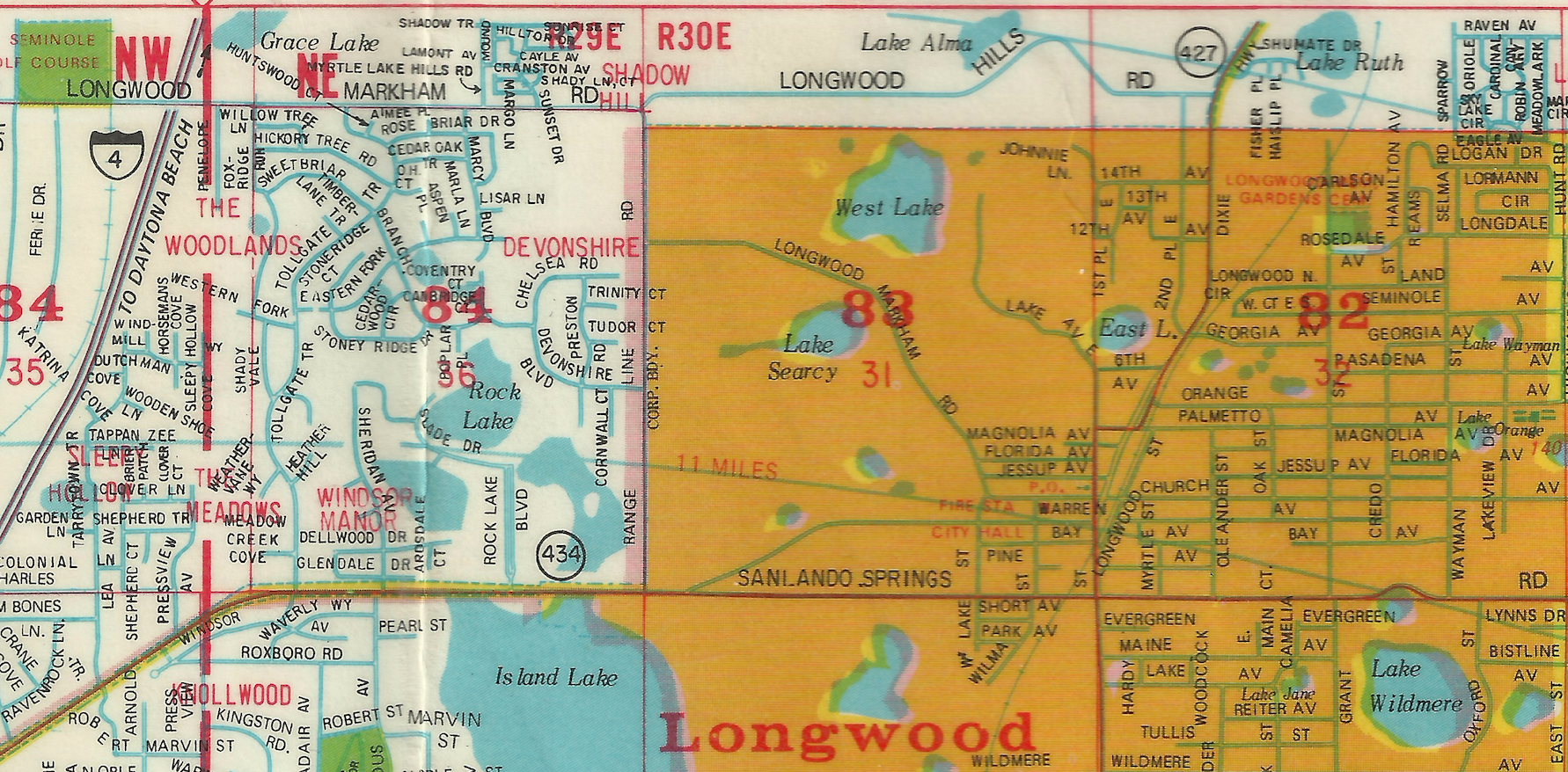This map from around 1971 still shows both this section of Church and EE Williamson road to be Longwood-Markham Road.