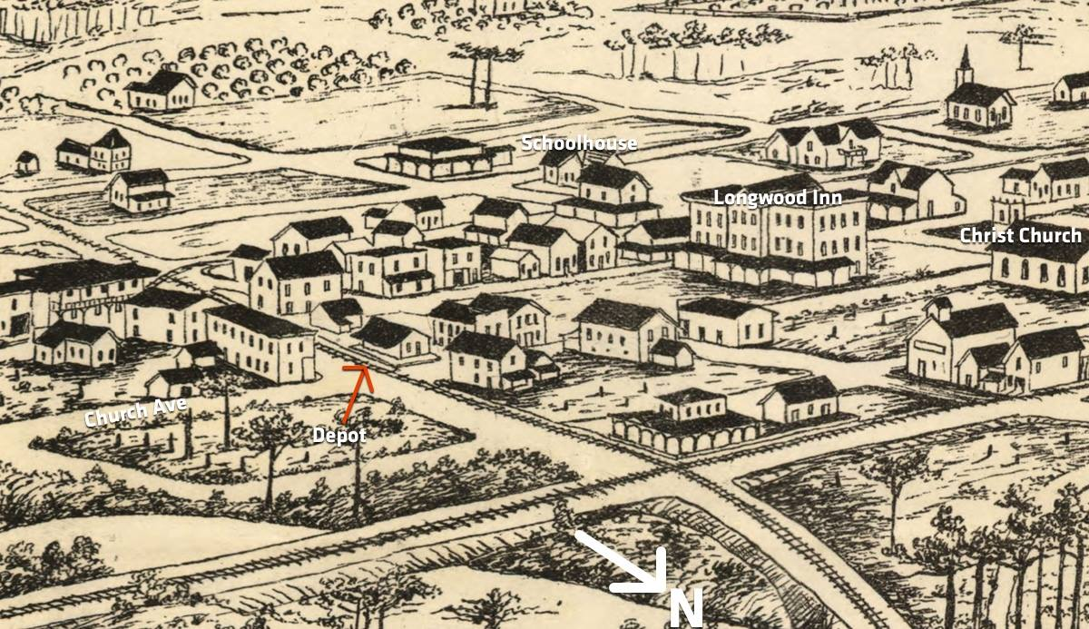1885 drawing of the location of the old depot in this spot. Several buildings still exist and are marked here to give a reference.