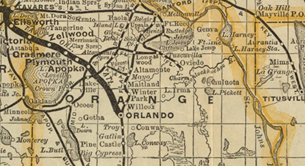 1885 map showing the railroad from Mayo to Forest City.