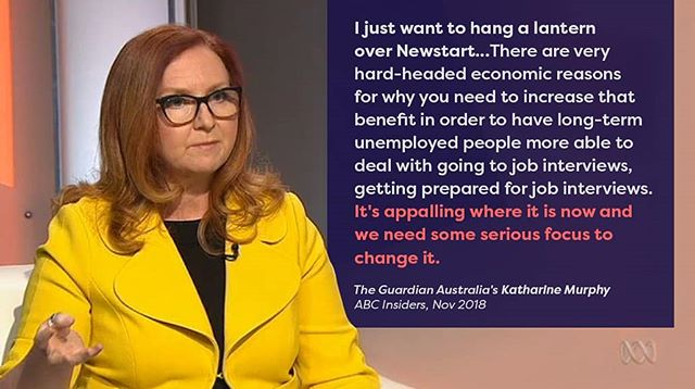 The Guardian Australia's political editor Katharine Murphy calls for 'serious focus' and an increase of Newstart on Insiders @abctv this month.  Katharine joins former PM John Howard, leading economists and business leaders who have agreed it's time to raise the rate. See who else supports an increase in Newstart via link in bio 🔗  #SharethePie #RaisetheRate #auspol #fairgo @guardianaustralia #guardianaus