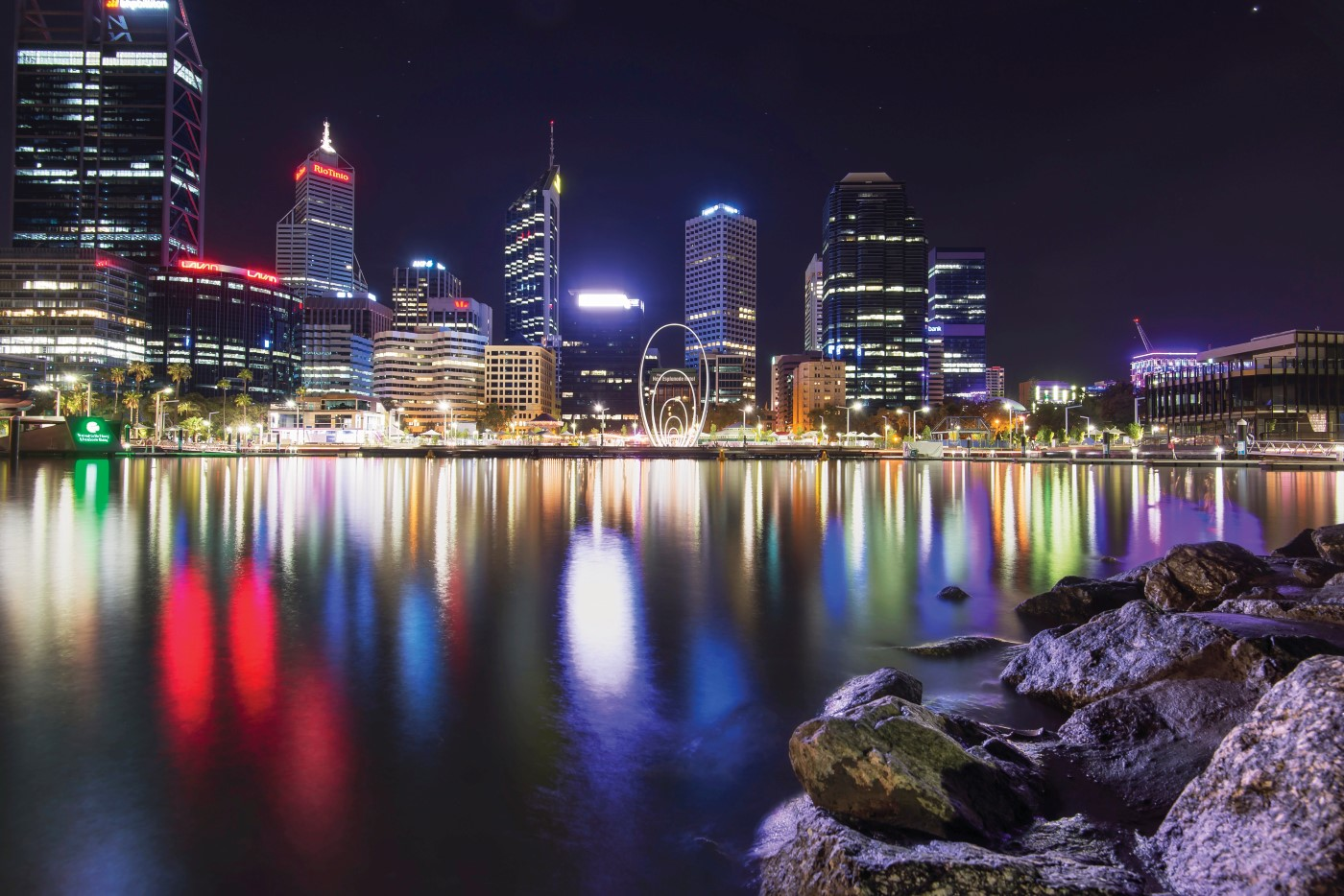 Elizabeth Quay across the Swan at night