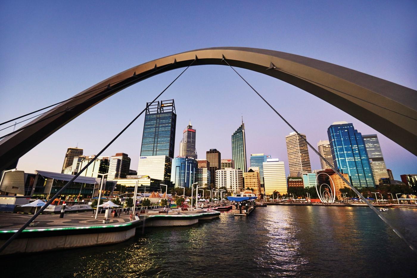 Perth skyline from the Elizabeth Quay pedestrian bridge