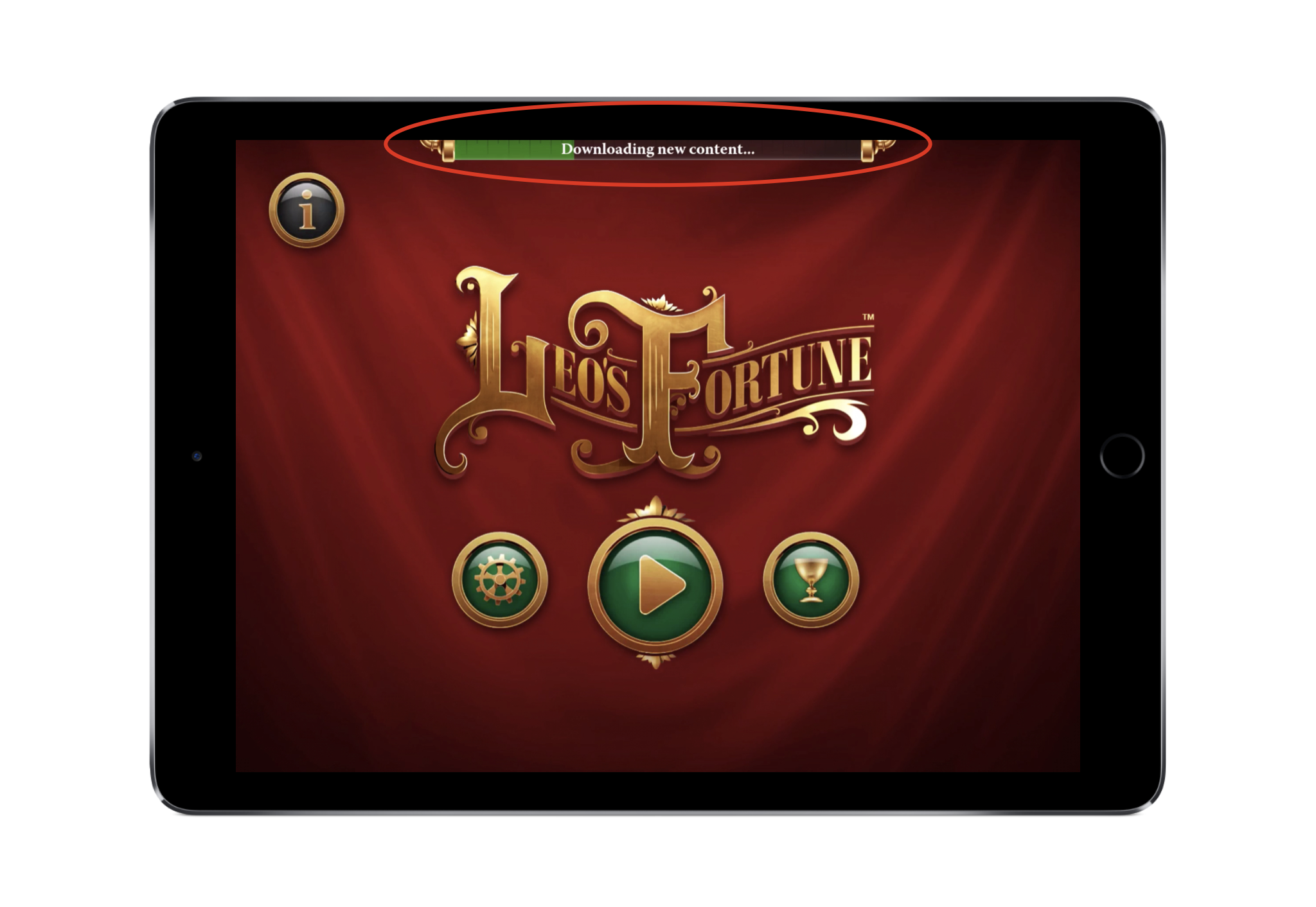 Leo's Fortune  begins to download additional content upon launch but still allows the user to progress forward.